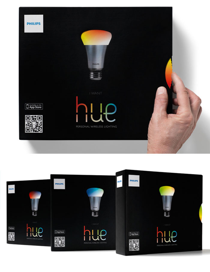 Interactive Hue Lamp Packaging Changes Lamp's Color When You Spin The Wheel