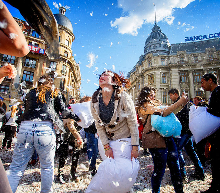 International Pillow Fight Day In Bucharest, Romania