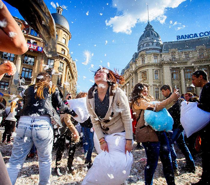International Pillow Fight Day In Bucharest, Romania