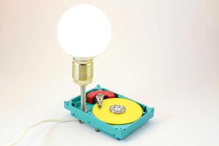 Unique Lamps Made Of Recycled Computer Components And Auto Parts