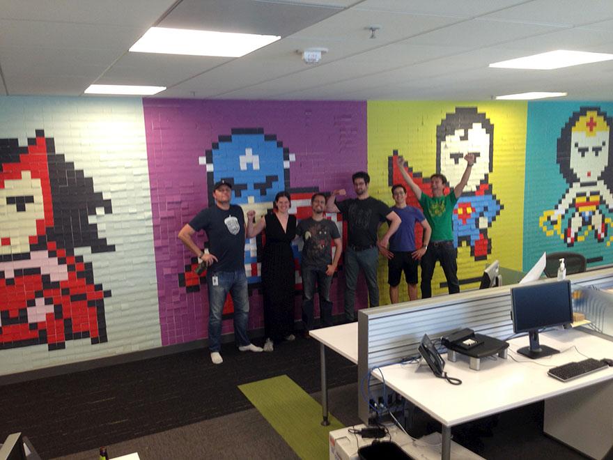 office-wall-post-it-art-superheroes-ben-brucker-4