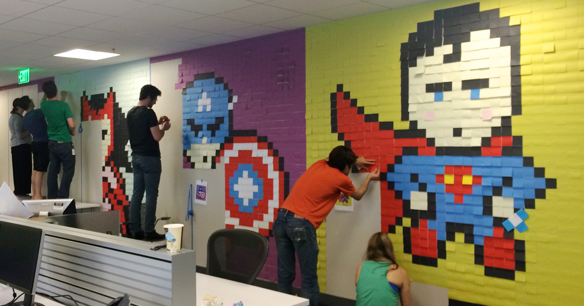 worker uses 8024 post it notes to turn boring office walls into superhero murals bored panda art for the office wall
