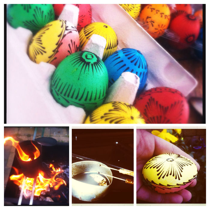 Burned Bee's Wax Decorated Easter Eggs. Old Lithuanian Tradition :-)