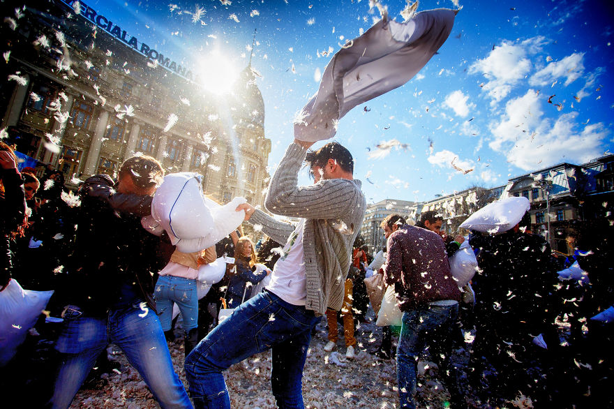 International Pillow Fight Day In Bucharest Romania