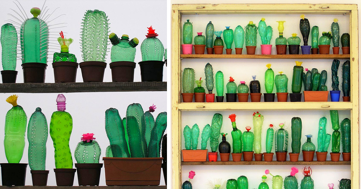 Recycled pet plastic bottle plant and animal sculptures by for What can we make out of plastic bottles