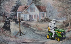 This Guy Continues To Paint Pop-Culture Characters Into Old Thrift-Store Paintings