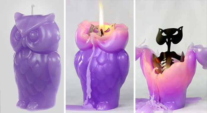 Owl Candle Reveals A Hidden Skeleton When It Melts
