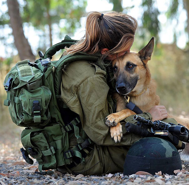 Soldier With Her Dog
