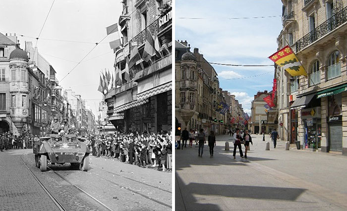 Last Summer, I Found WW2 Photos Of Dijon In France And Retook Them In The Same Places 70 Years Later