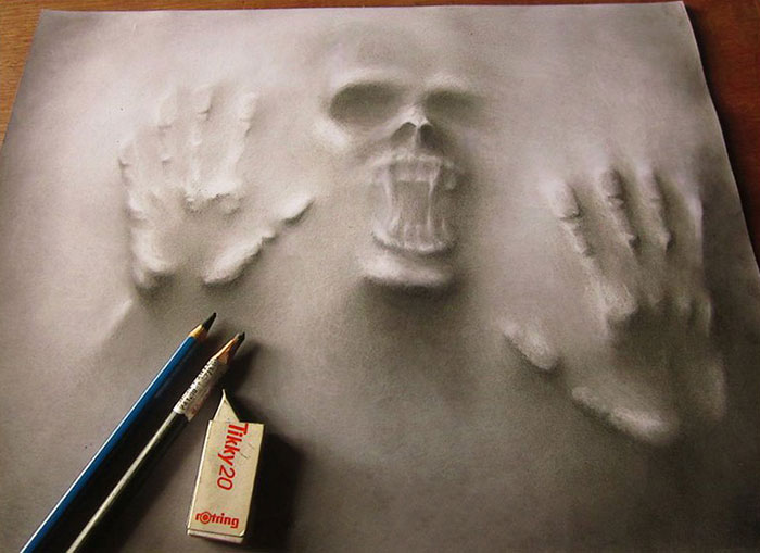 3d pencil illustrations express the struggle between my for Awesome face drawing