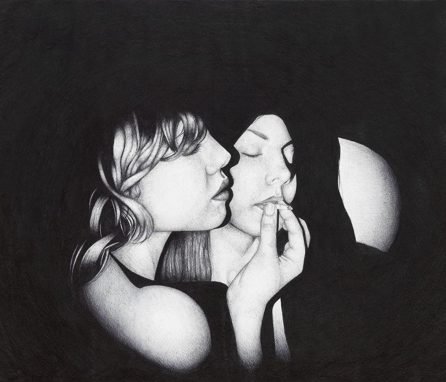 فنان من بيرو يستخدم القلم الاسود فقط في رسوماته Chloe-and-Jade-edit_