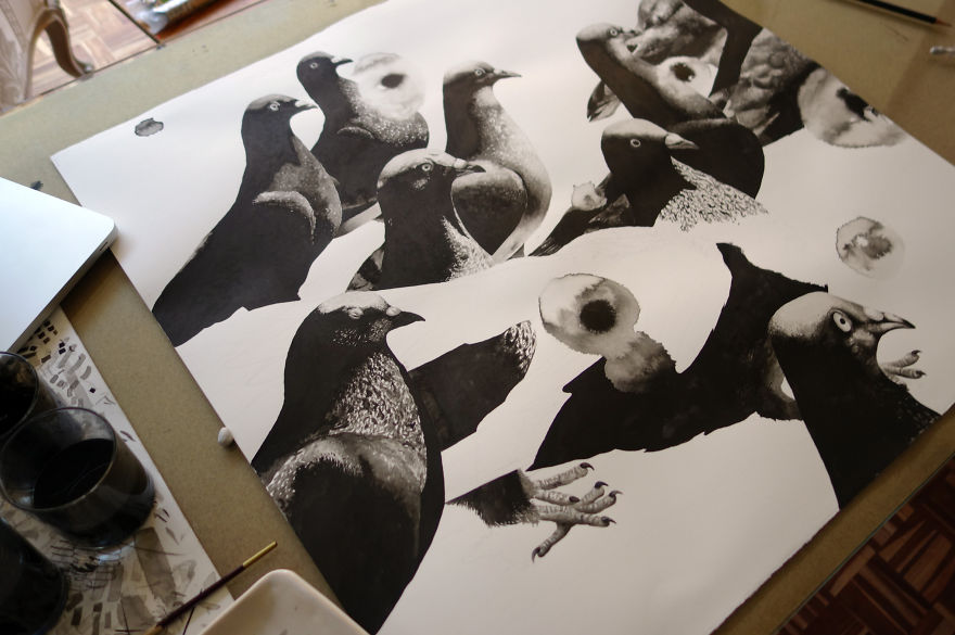 I Drew Pigeons From Johannesburg To Portray Their Beauty