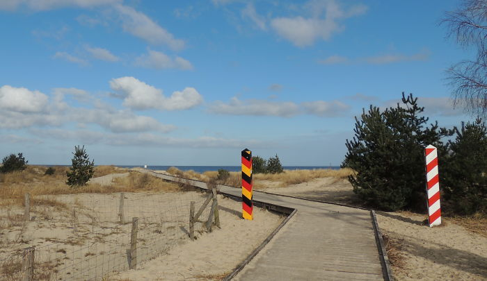 The Border Between Germany And Poland, On The Beach Of Usedom.