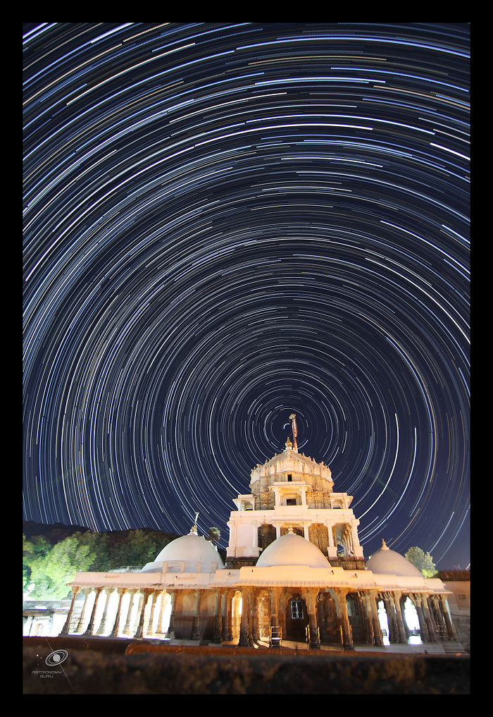 Circular Movement Of Stars Around Ancient Temple