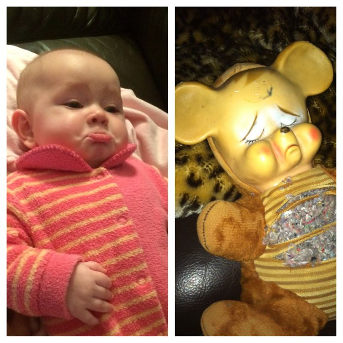 Grandmom's Teddy Bear 50 Years Old And Grandmom's Granddaughter 5 Months Old.