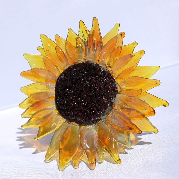 Huge Hand Blown Sun Flower