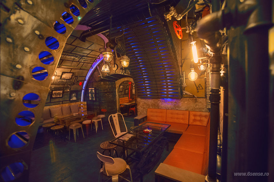Steampunk submarine themed pub in romania bored panda for Industrial punk design
