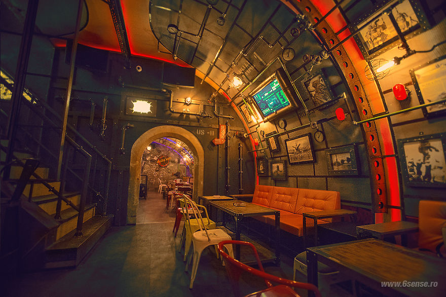 Steampunk submarine themed pub in romania bored panda for Interieur cluj