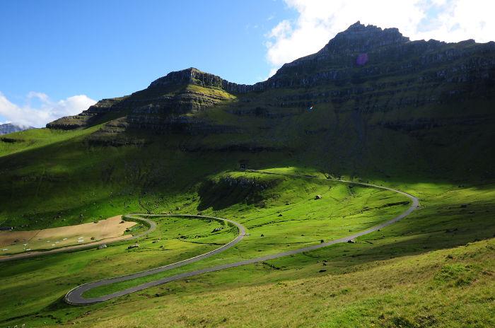 Green Fields On Kalsoy, Faroe Islands