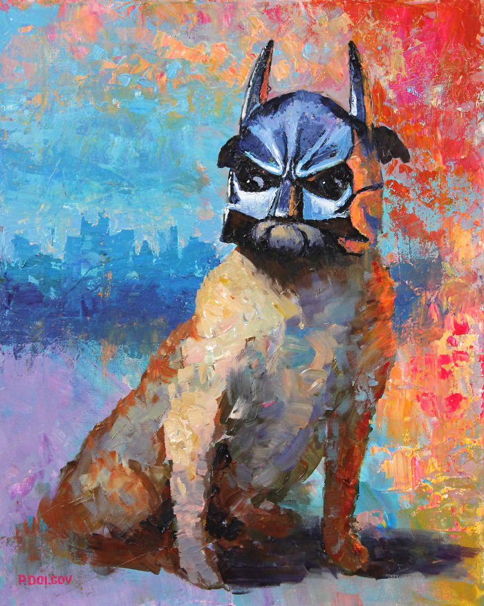 """a Superhero Dog"", 20""x16"", Acrylic On Canvas By Paul Dolgov"