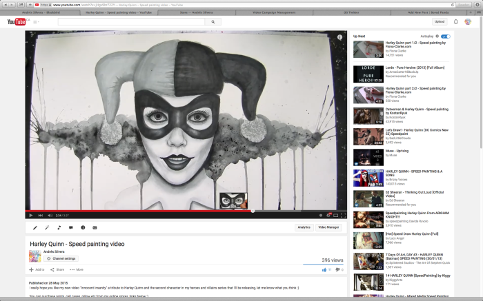 Harley Quinn Speed Painting Video Now On Youtube