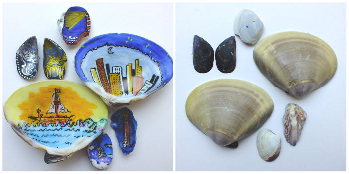 Colourful Marker Drawings On Shells