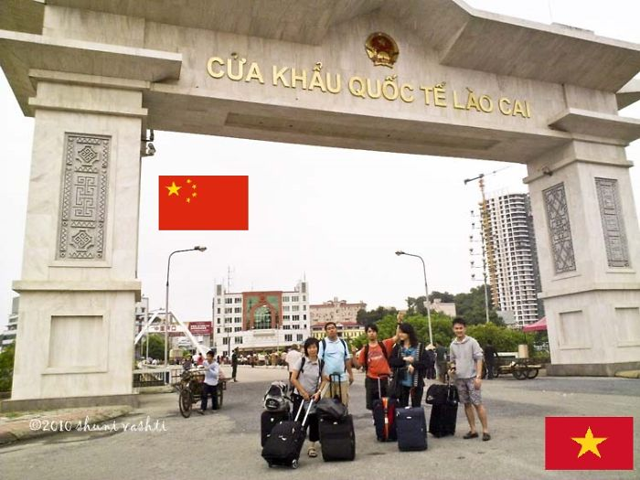 """friendship Bridge"" On The Border Of Vietnam (front) And China (back)"