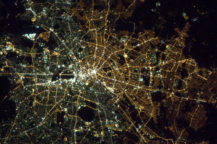 Berlin, The Light Bulbs Still Show The East/west Division From Orbit.