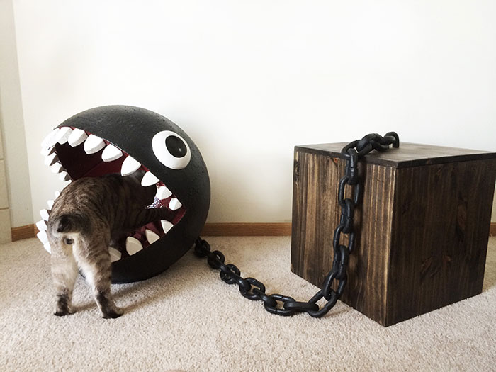 I Made A Bed For My Cat Inspired By Super Mario's Chain Chomp Monster