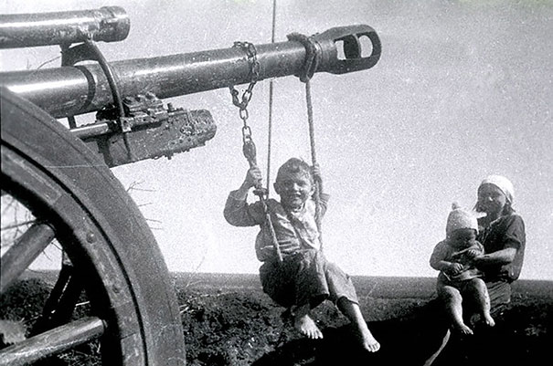 Russian Children Playing On Abandoned German Artillery After The Battle Of Stalingrad