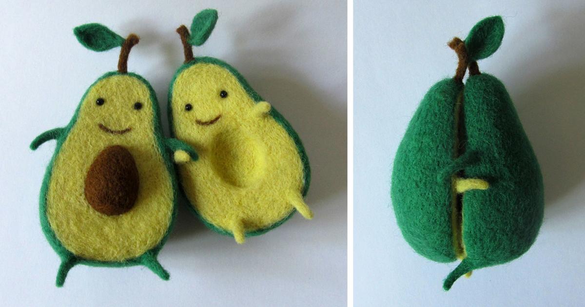 Avocado Love: Wool Sculpture By Ukrainian Artist Hanna Dovhan