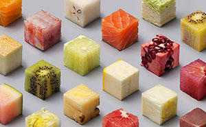 Artists Cut Raw Food Into 98 Perfect Cubes To Make Perfectionists Hungry