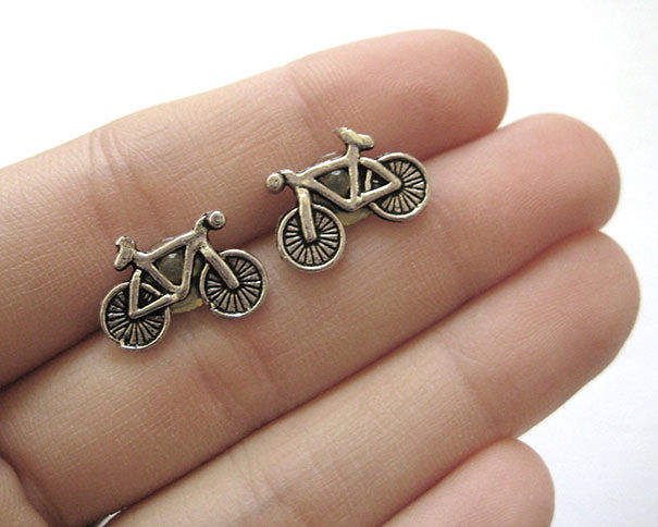 Silver Bike Earrings