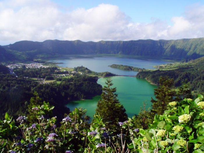 """sete Cidades"" Lagoon In Azores, Portugal. Half Green, Half Blue."