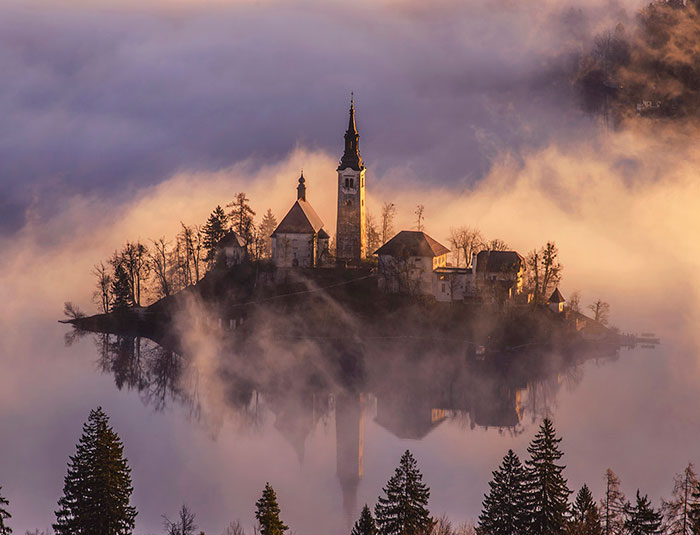 Spectacular Sunrise At Lake Bled In Slovenia