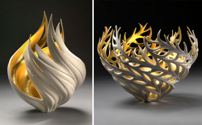 Nature-Inspired Vases That Glow With An Inner Golden Fire