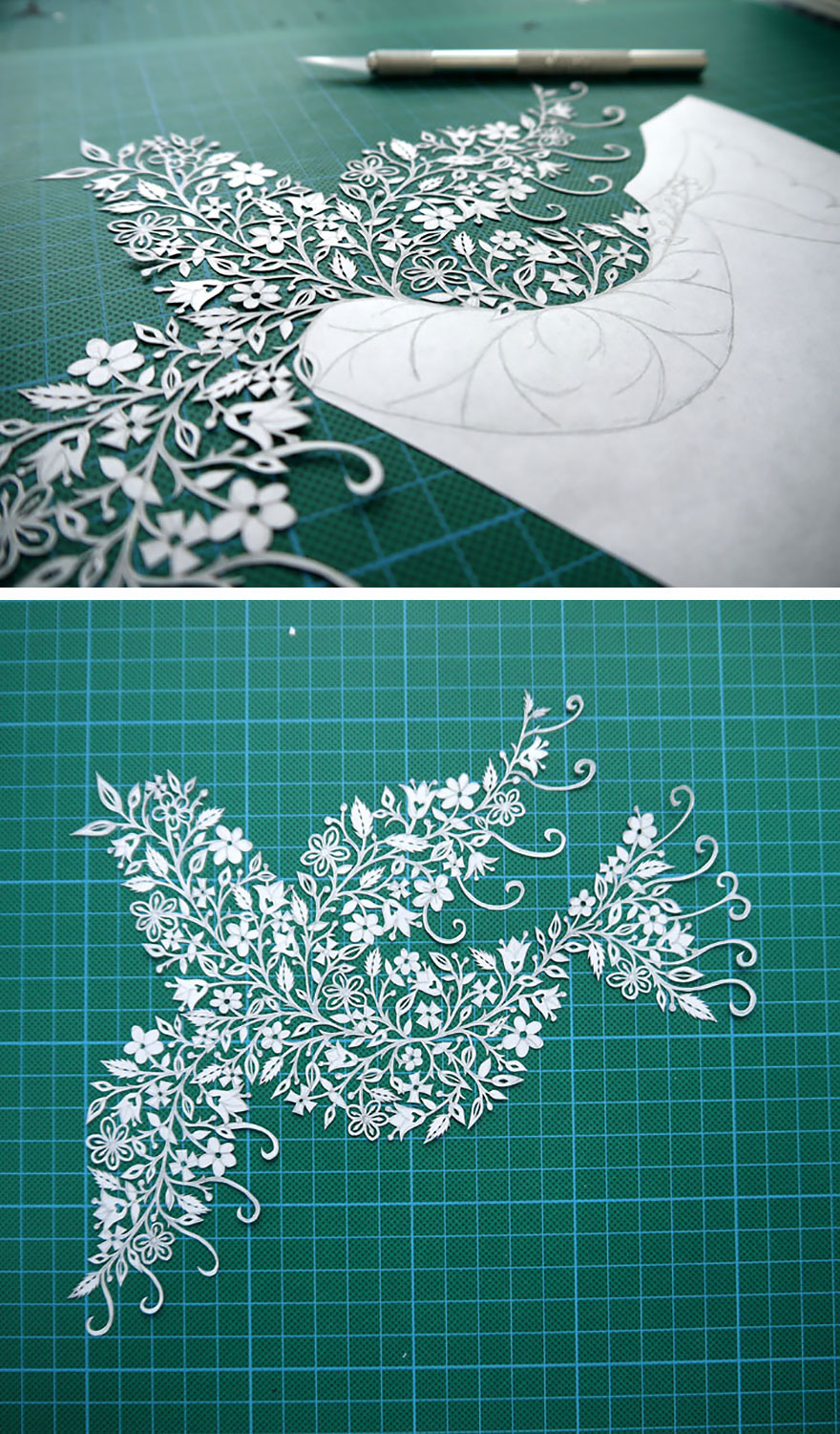 Artist Hand-Cuts Insanely Intricate Paper Art From Single Sheets Of Paper
