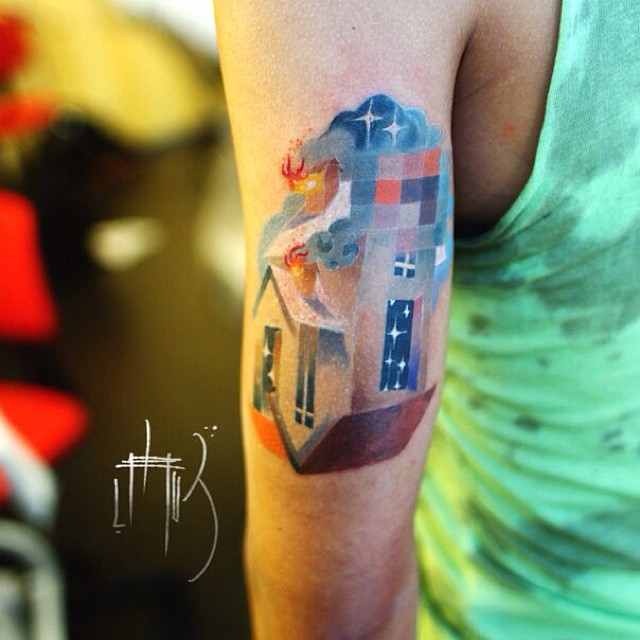 Animal Tattoos With Digital Pixel Glitches By Russian