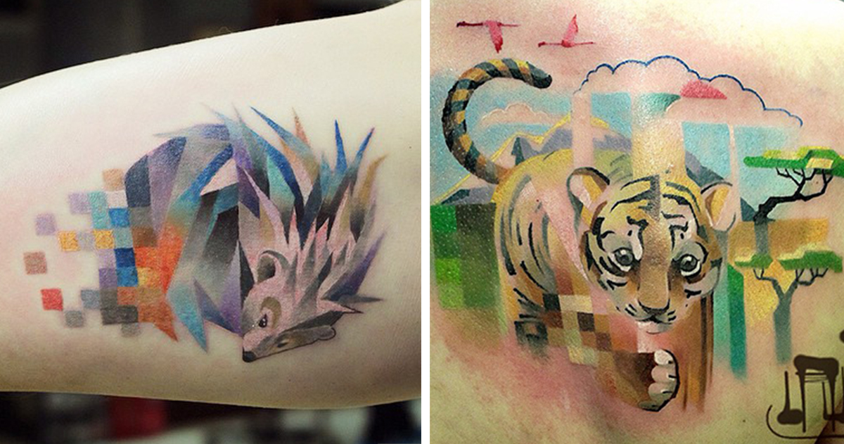 Animal Tattoos With Digital Pixel Glitches By Russian Artist - Artist creates amazing animal tattoos with digital pixel glitches