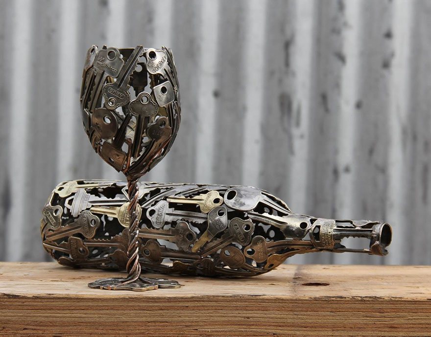 artist turns old keys and coins into recycled art bored