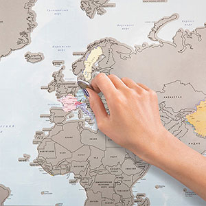 A Scratch-Off World Map That Lets You Track Countries You've Visited