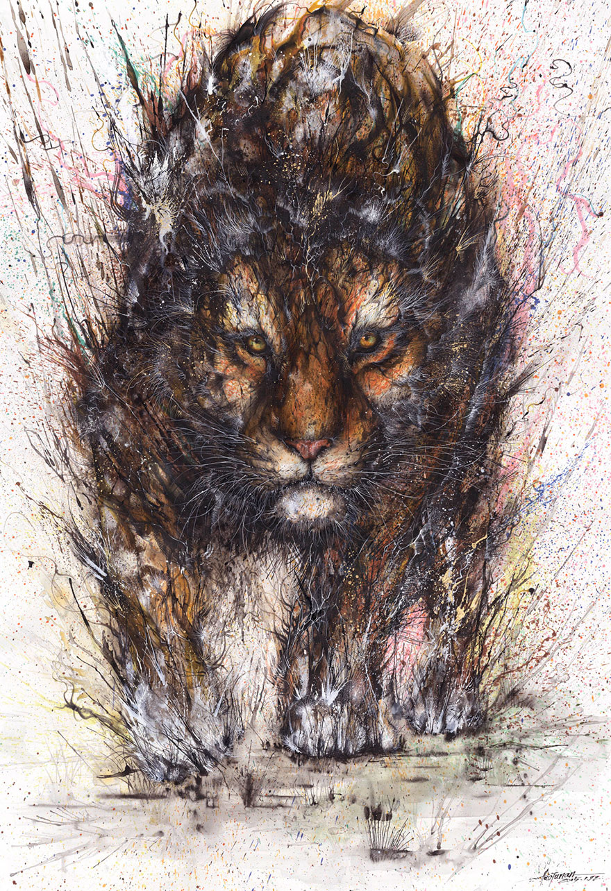 Splattered Ink Animal Portraits By Chinese Artist Hua