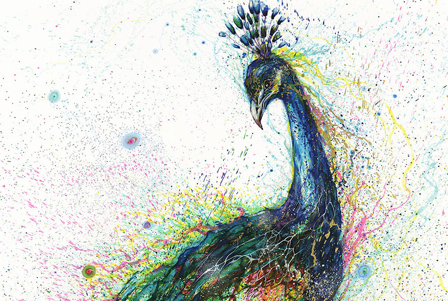 splattered ink animal portraits by chinese artist hua tunan bored