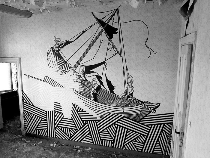 Artist Uses Tape Instead Of Paint To Create Beautiful Street Art