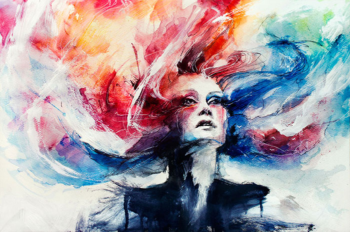 Expressive Watercolor Portraits Slowly Bleed Into The Paper