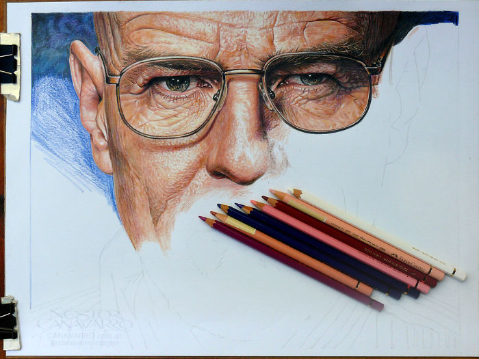 Bryan Cranston (walter White) Drawn With Color Pencils – Progress Images