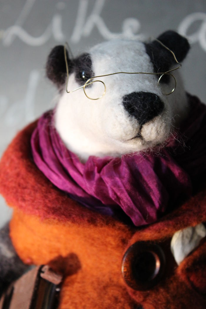 Needle Felted Library Badger