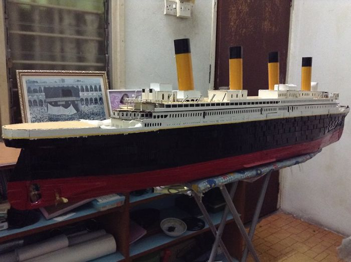 Cardboard Titanic Model 100%, Recycled Stuff