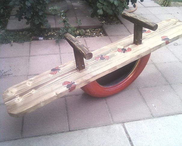 Tire See Saw...reclaimed Wood, And Hand Painted.