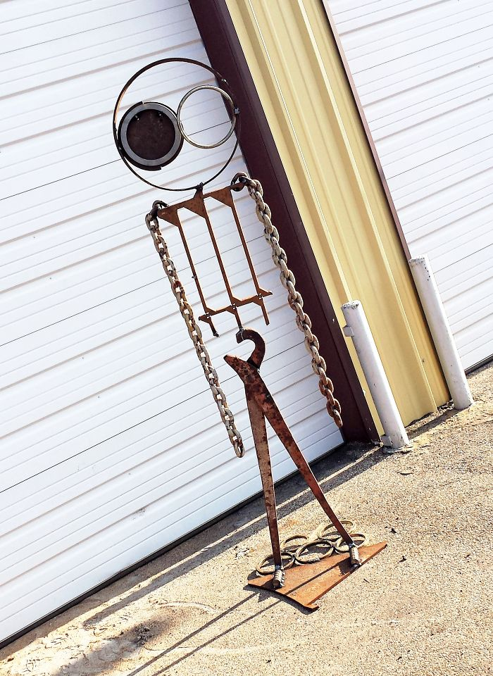 Recycled Salvage Scrap Metal 7 Foot Tall Sculpture